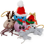 Plush Microbe Holiday Ornament Set