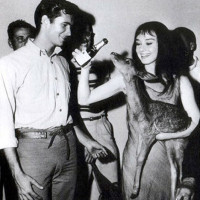Anthony Perkins and Audrey Hepburn with-her pet deer Pippin