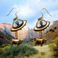 Alien Abduction of Cow Earrings Gold Tone