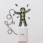 Electrical shock stickers