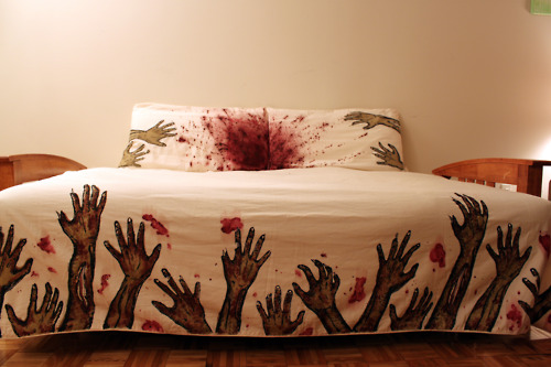"Curtains Ideas bloody shower curtain : Zombie Bed Sheets , designed by Melissa Christie : ""screen printed ..."