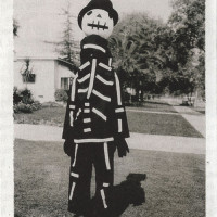 Tim Burton wearing a Halloween costume made by his mother