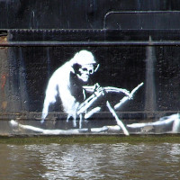 Banksy, on the Thekla Social entertainment boat,