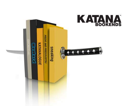 Katana Bookends by Mustard-with books angle