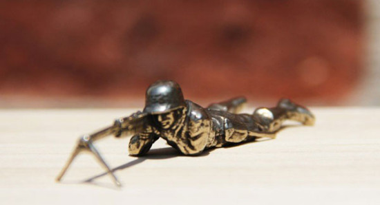White Bronze Cast Army Men