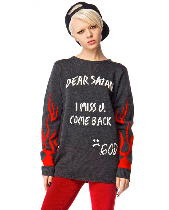 dear satan i miss u come back sweater